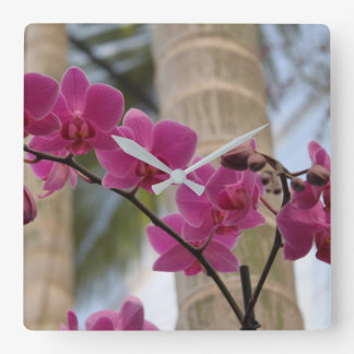 Purple Orchids Clock