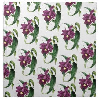 Purple Orchids flowers Pattern Napkin