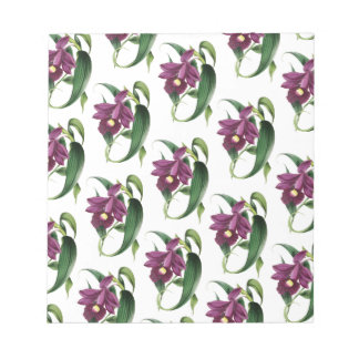 Purple Orchids flowers Pattern Notepad