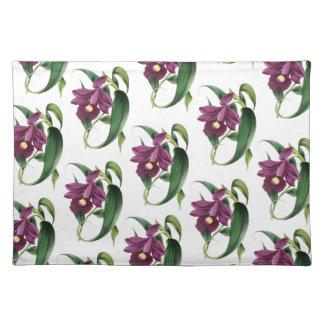 Purple Orchids flowers Pattern Placemat