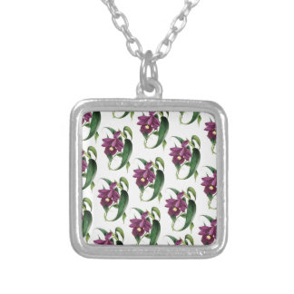 Purple Orchids flowers Pattern Silver Plated Necklace