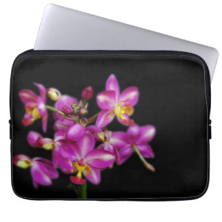 Purple orchids on Black background Laptop Sleeve
