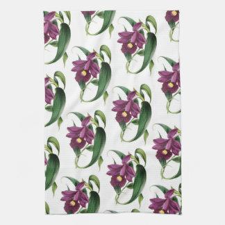 Purple Orchids Pattern Tea Towel