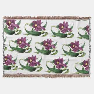 Purple Orchids Pattern Throw Blanket