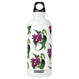 Purple Orchids Pattern Water Bottle