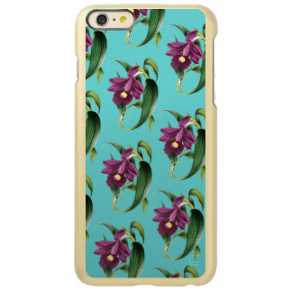 Purple Orchids Teal Pattern