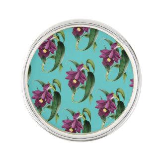 Purple Orchids Teal Pattern Lapel Pin