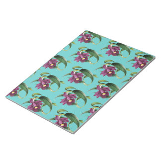 Purple Orchids Teal Pattern Notepad