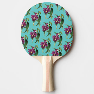 Purple Orchids Teal Pattern Ping Pong Paddle