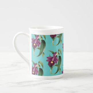 Purple Orchids Teal Pattern Tea Cup