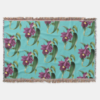 Purple Orchids Teal Pattern Throw Blanket