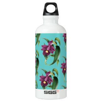 Purple Orchids Teal Pattern Water Bottle