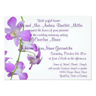 Purple Orchids Wedding 14 Cm X 19 Cm Invitation Card