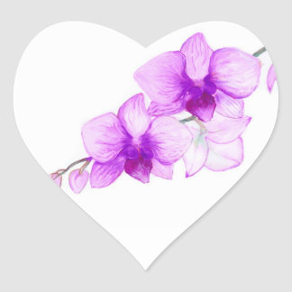 Purple Orchids - wedding postage Heart Sticker