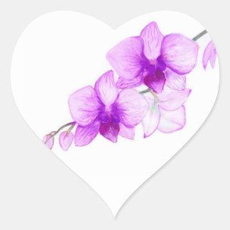Purple Orchids - wedding postage Heart Sticker