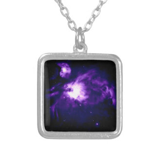 Purple Orion Nebula : Galaxy Silver Plated Necklace