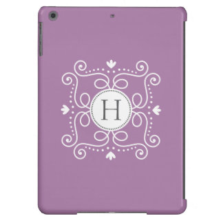 Purple ornament personalized monogram initial cover for iPad air