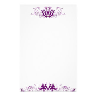 Purple ornamental ornate personalised stationery