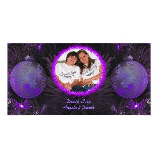 Purple Ornaments Christmas Photo Card