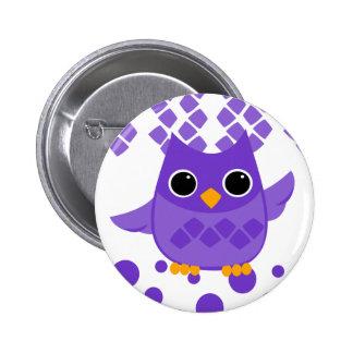 Purple Owl 6 Cm Round Badge