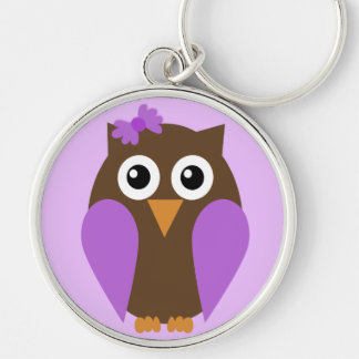 Purple Owl & A Bow Keychain