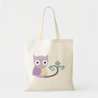 Purple Owl and Blue Flowers Girls Tote