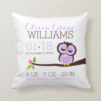 Purple Owl Baby Birth Announcement Cushions