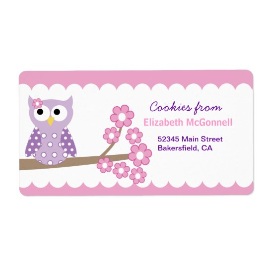 Purple Owl Custom Baking Labels or Stickers