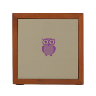 Purple Owl Desk Organizer