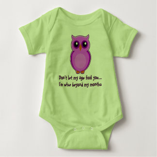 purple owl green baby bodysuit
