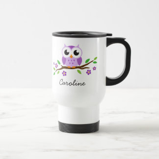 Purple owl on flowering branch personalized name stainless steel travel mug