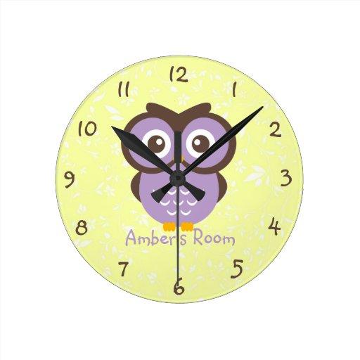 Purple Owl Personalised Kids Bedroom Wallclock Zazzle
