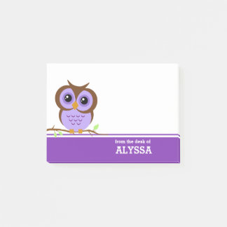Purple Owl Personalised Post-it Notes