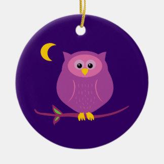Purple Owl Round Ceramic Decoration