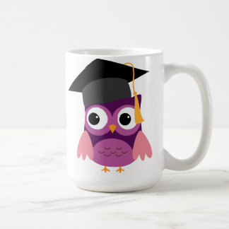 Purple Owl with Cap Graduation Mug