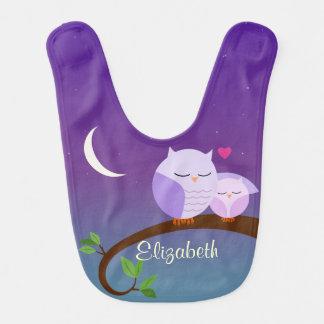 Purple Owls Personalized Baby Bib