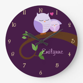 Purple Owls Personalized Wall Clock