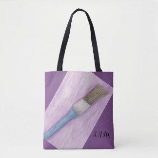 Purple Paint Brush Tote Bag