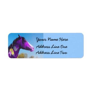Purple Paint horse War pony Return Address Labels