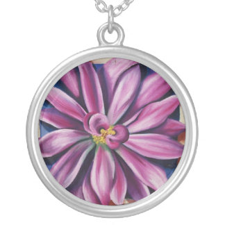 purple painted daisy round pendant necklace