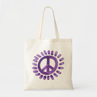 purple painted peace sign tote bag