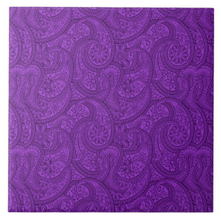 Purple Paisley Ceramic Tile