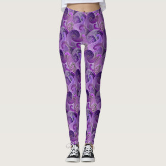 Purple Paisley Damask Pattern Leggings