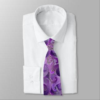 Purple Paisley Damask Pattern Tie