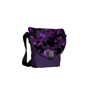 Purple Paisley Floral Courier Bag