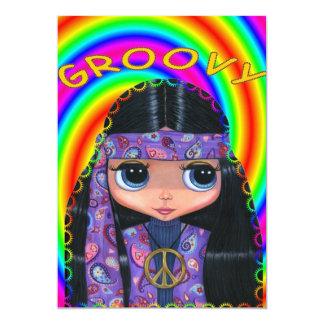 "Purple Paisley Hippie Girl Invitation 5"" X 7"" Invitation Card"