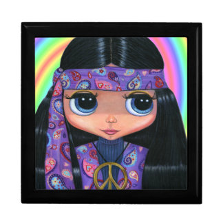 Purple Paisley Hippie Girl with Big Eyes Large Square Gift Box
