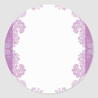Purple Paisley middle eastern invitation Template Round Sticker