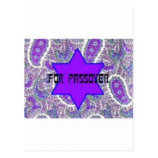 Purple Paisley Passover Postcard