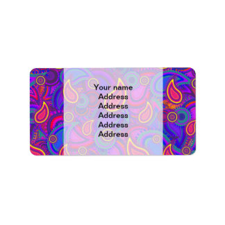 Purple Paisley Pattern Address Label